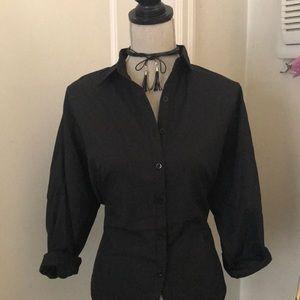 Boohoo corset batwing shirt w/ adjustable strings.